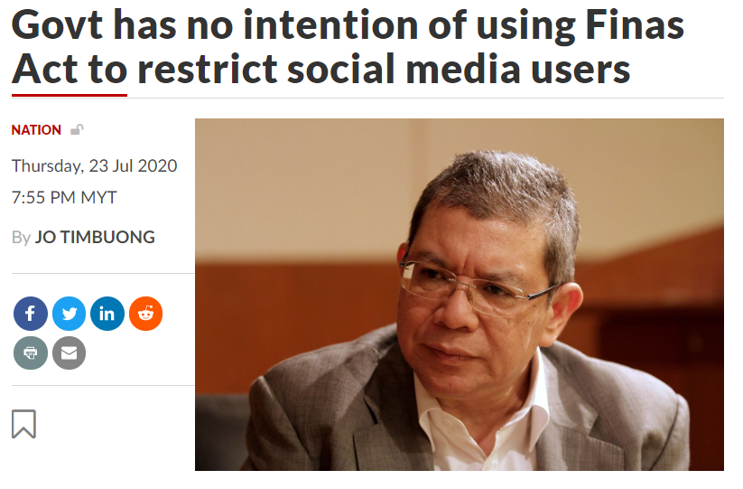 Govt has no intention of using Finas Act to restrict social media users